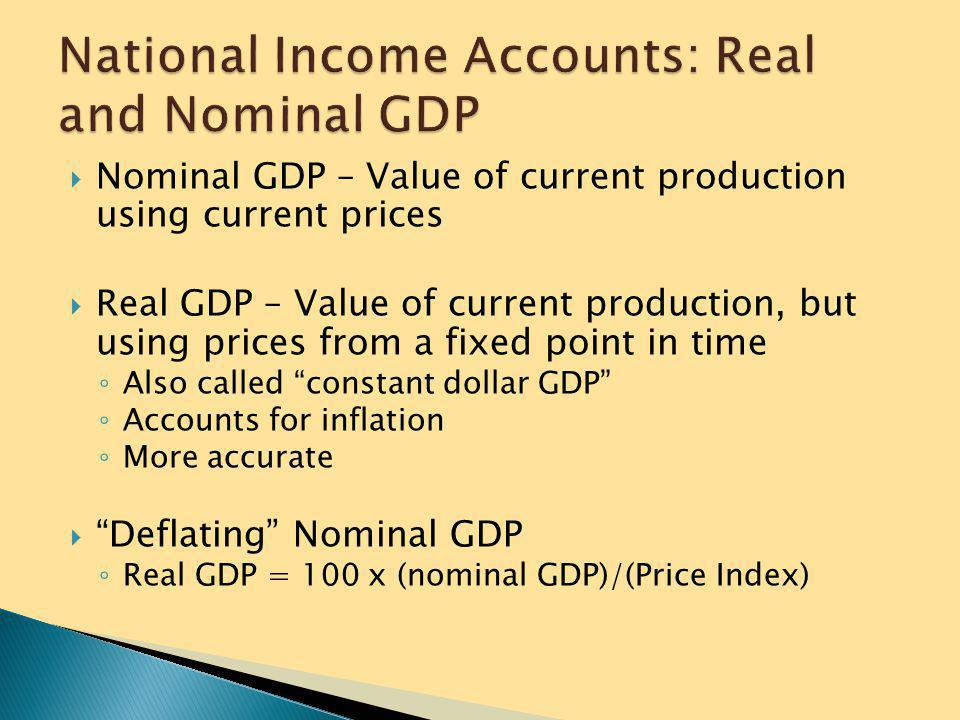  Expenditure Approach – measures total spending ◦ C+I+G+NX = GDP  C = consumer spending. Largest component.  I = investment (business spending, inv