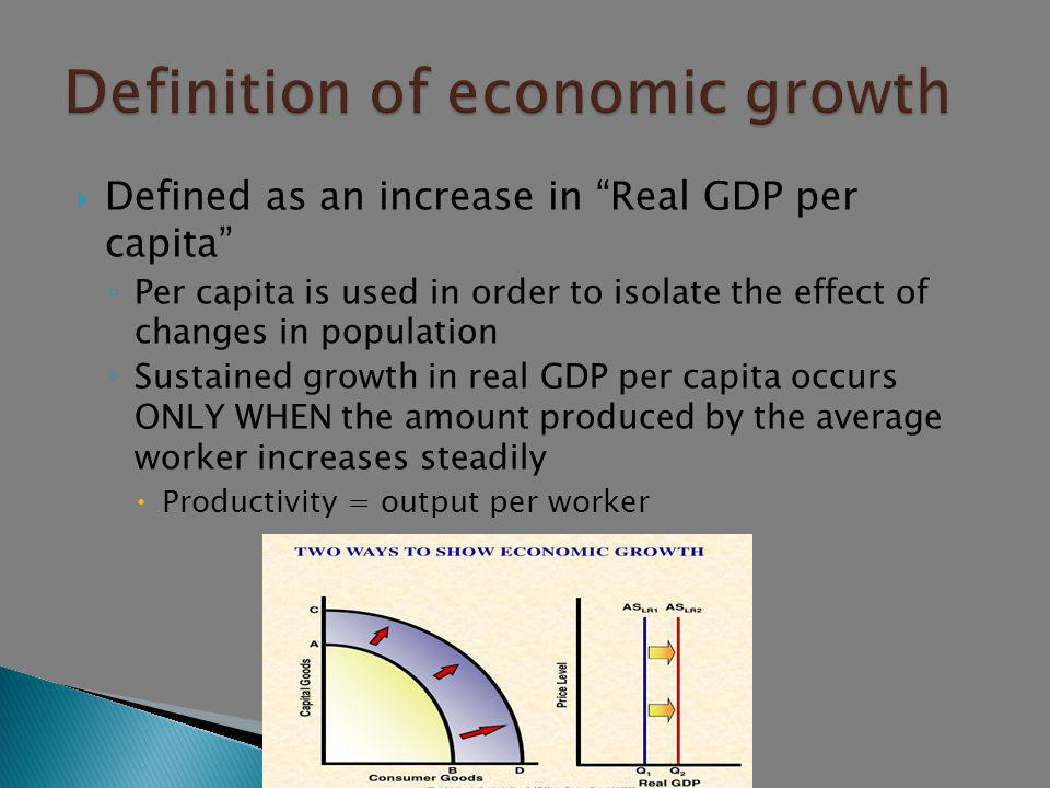  A. Definition of economic growth  B. Determinants of economic growth  1.Investment in human capital  2.Investment in physical capital  3.Researc