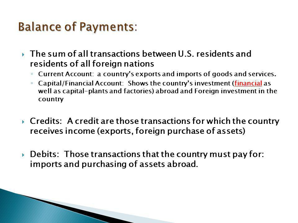  A. Balance of payments accounts  1.Balance of trade  2.Current account  3.Financial account (formerly known as capital account)  B. Foreign exch