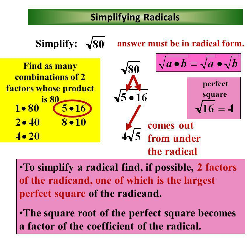 Perfect Square Factors Find as many combinations of 2 factors whose product is 75 Find as many combinations of 2 factors whose product is 128 Factors