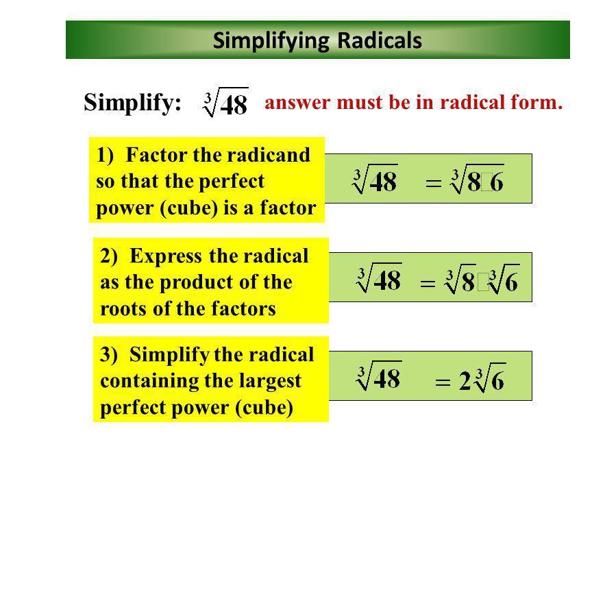 Perfect Cubes 1 3 = 1 2 3 = 8 3 3 = 27 4 3 = 64 5 3 = 125 6 3 = 216 7 3 = 343 (x 4 ) 3 = x 12 (-2y 2 ) 3 = -8y 6