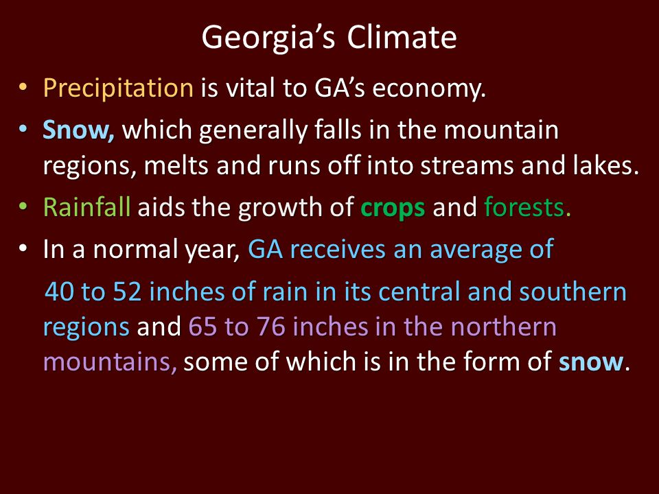 Georgia's Climate Precipitation is vital to GA's economy. Precipitation is vital to GA's economy. Snow, which generally falls in the mountain regions,