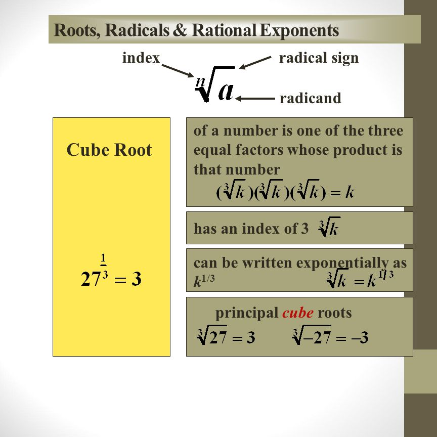 Roots, Radicals & Rational Exponents Square Root radical sign radicand index of a number is one of the two equal factors whose product is that number Every positive real number has two square roots The principal square root of a positive number k is its positive square root,.