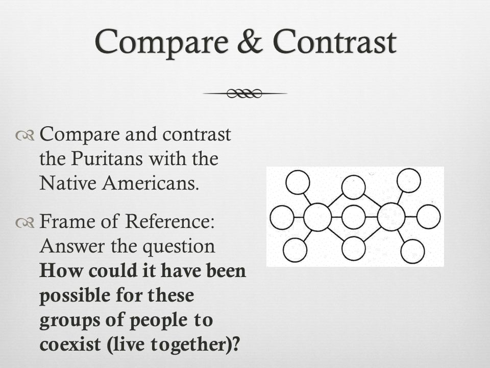 Compare & ContrastCompare & Contrast  Compare and contrast the Puritans with the Native Americans.