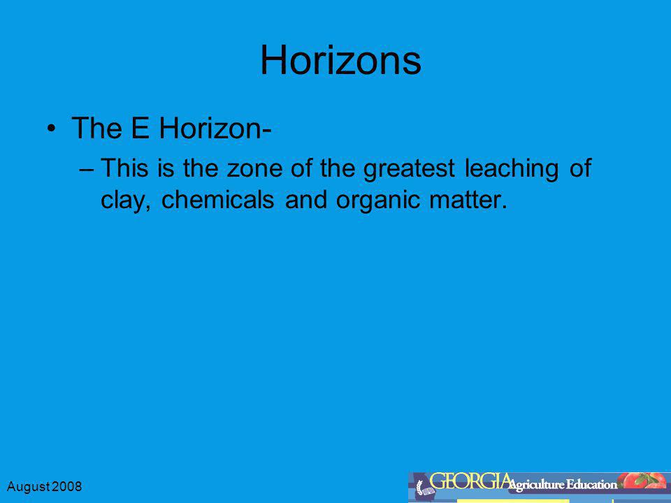 August 2008 Horizons The E Horizon- –This is the zone of the greatest leaching of clay, chemicals and organic matter.
