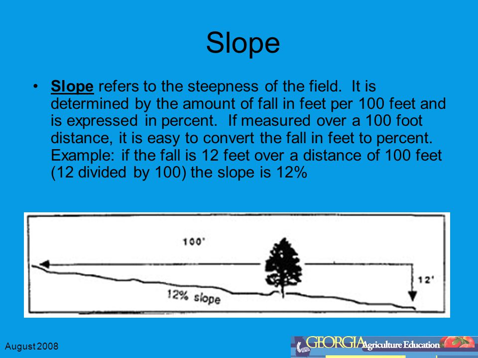 August 2008 Slope Slope refers to the steepness of the field.