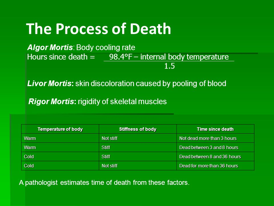 The Process of Death, continued StageDescription Initial or fresh decay (autolysis) The cadaver appears fresh externally but is decomposing internally due to the activities of bacteria present before death (0–4 days).