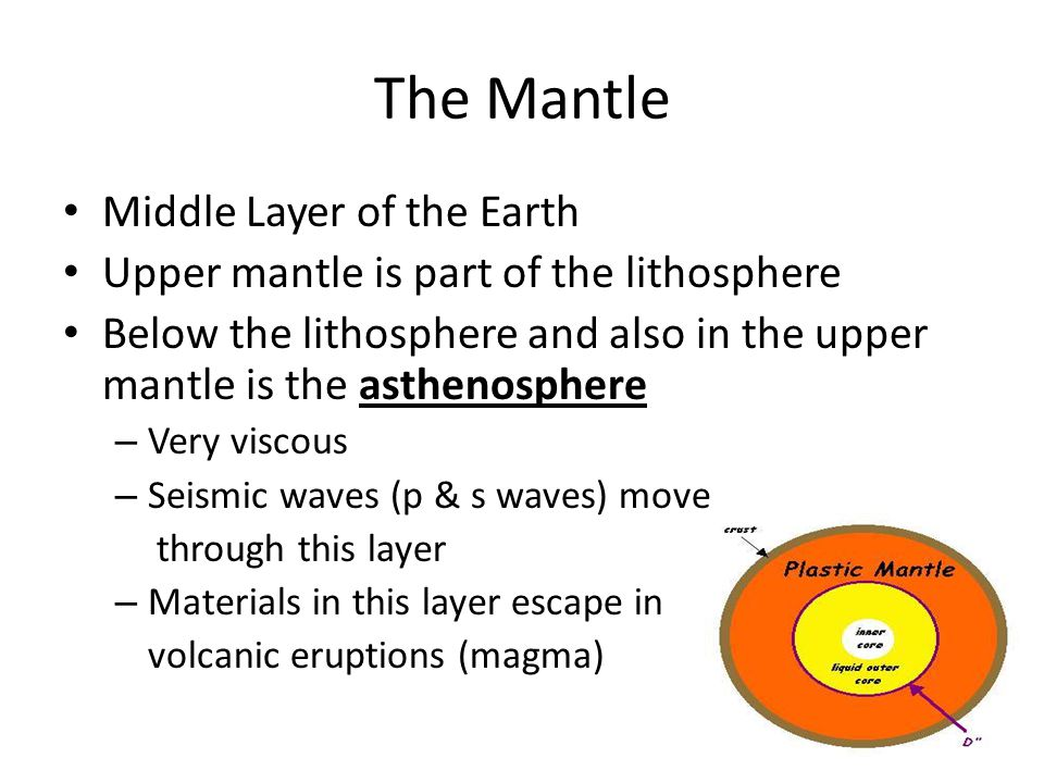 The Mantle Middle Layer of the Earth Upper mantle is part of the lithosphere Below the lithosphere and also in the upper mantle is the asthenosphere –