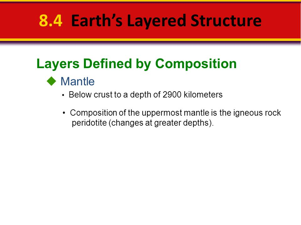 Layers Defined by Composition 8.4 Earth's Layered Structure  Mantle Below crust to a depth of 2900 kilometers Composition of the uppermost mantle is