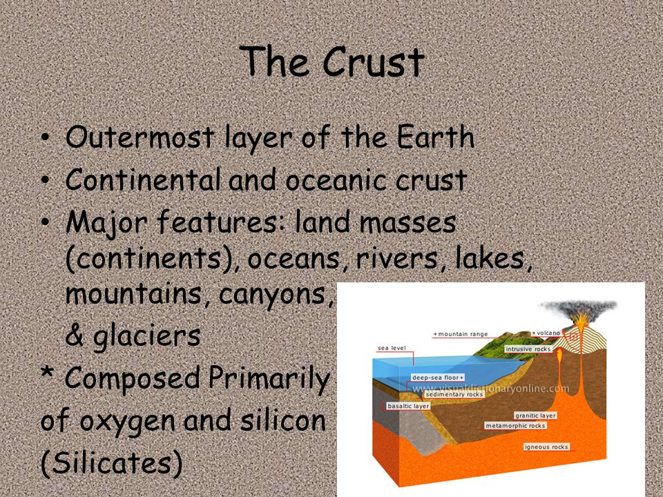 The Crust Outermost layer of the Earth Continental and oceanic crust Major features: land masses (continents), oceans, rivers, lakes, mountains, canyo