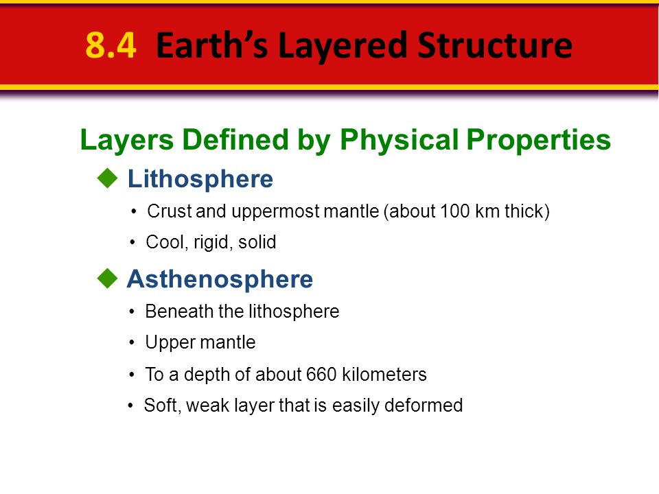 Layers Defined by Physical Properties 8.4 Earth's Layered Structure  Lithosphere Crust and uppermost mantle (about 100 km thick) Cool, rigid, solid 