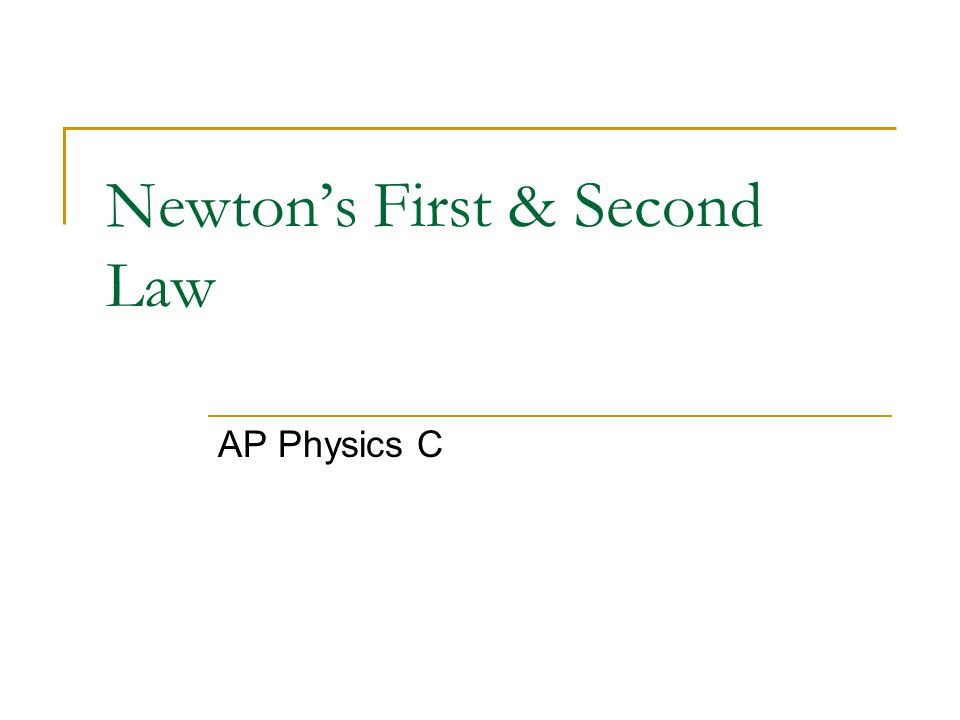 Newton's First & Second Law AP Physics C