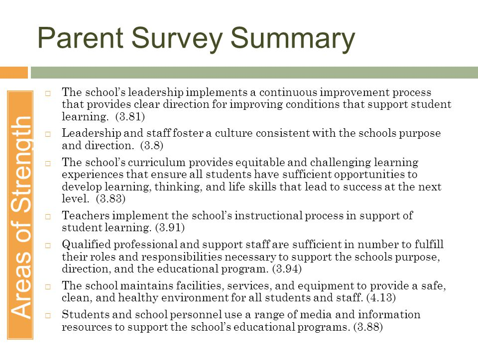 Parent Survey Summary  The school's leadership implements a continuous improvement process that provides clear direction for improving conditions that support student learning.