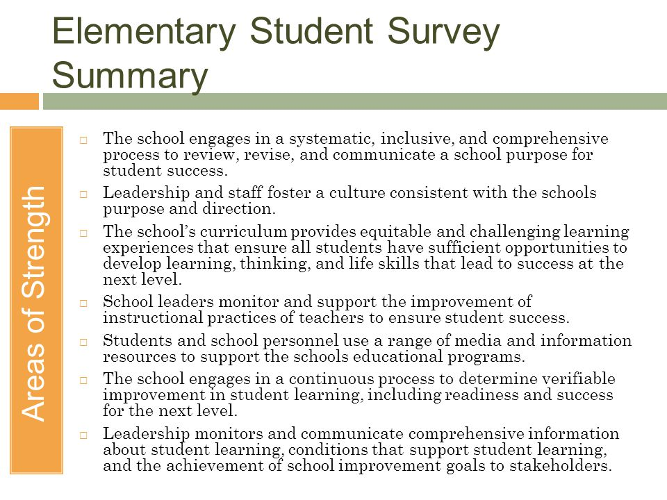 Elementary Student Survey Summary Areas of Strength  The school engages in a systematic, inclusive, and comprehensive process to review, revise, and communicate a school purpose for student success.