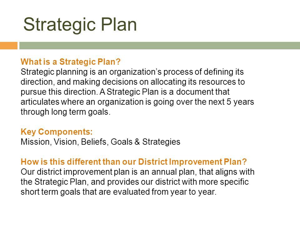 Strategic Plan What is a Strategic Plan.