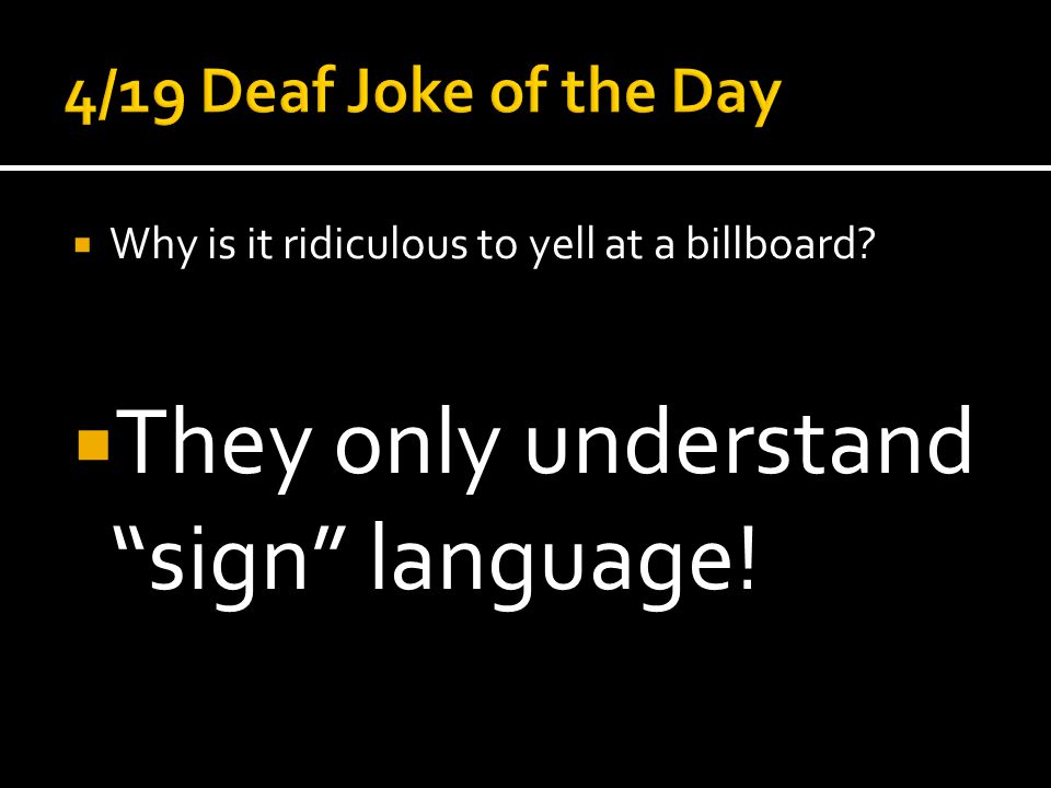  They only understand sign language!