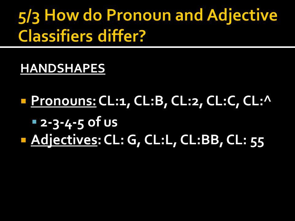 HANDSHAPES  Pronouns: CL:1, CL:B, CL:2, CL:C, CL:^  2-3-4-5 of us  Adjectives: CL: G, CL:L, CL:BB, CL: 55