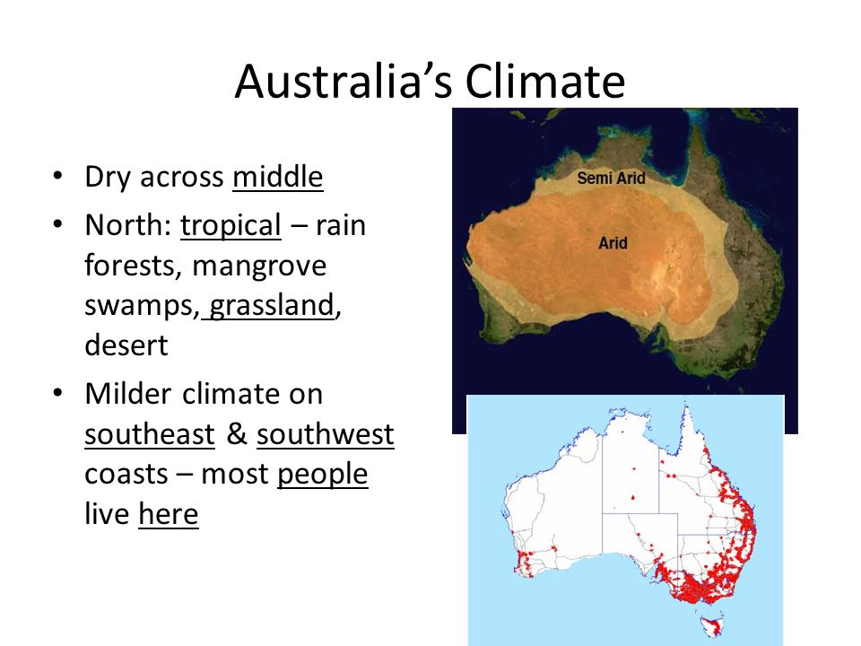 Australia's Climate Dry across middle North: tropical – rain forests, mangrove swamps, grassland, desert Milder climate on southeast & southwest coast