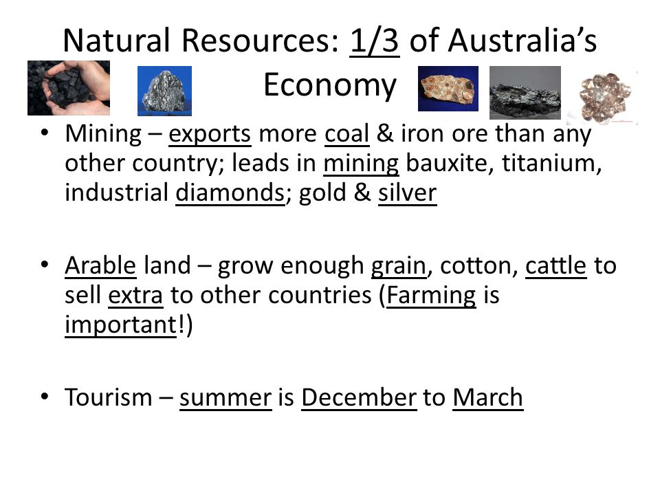 Natural Resources: 1/3 of Australia's Economy Mining – exports more coal & iron ore than any other country; leads in mining bauxite, titanium, industr