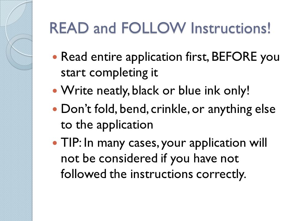 READ and FOLLOW Instructions.