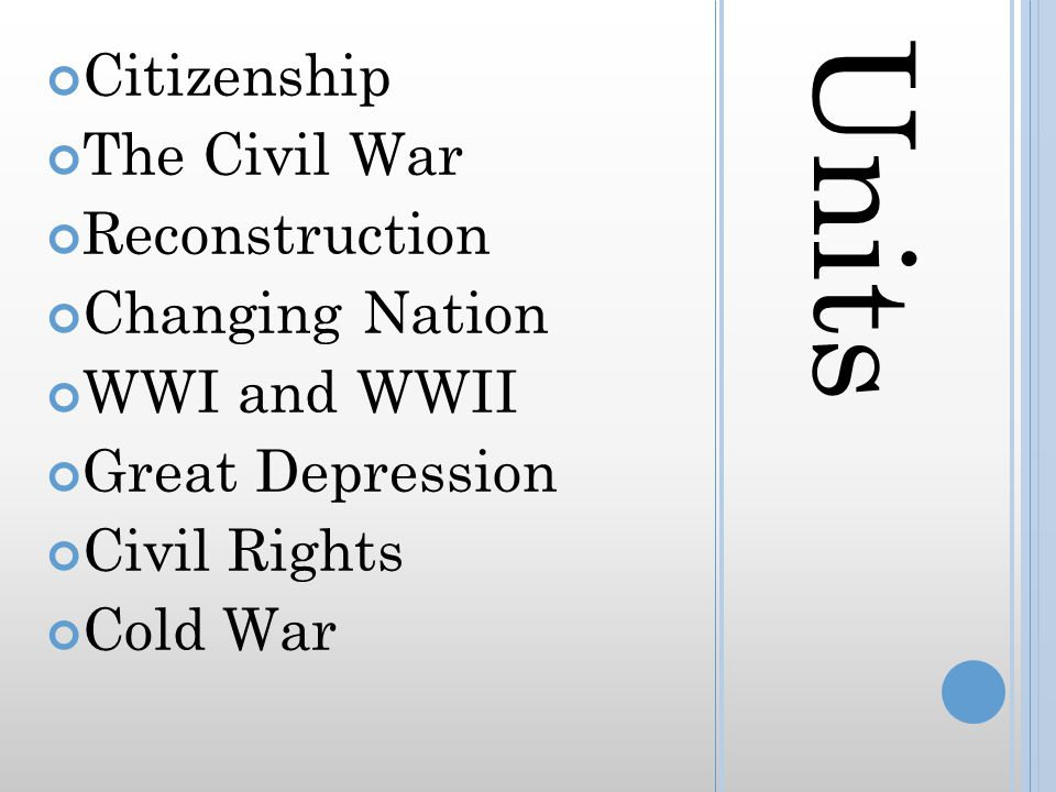 Units Citizenship The Civil War Reconstruction Changing Nation WWI and WWII Great Depression Civil Rights Cold War