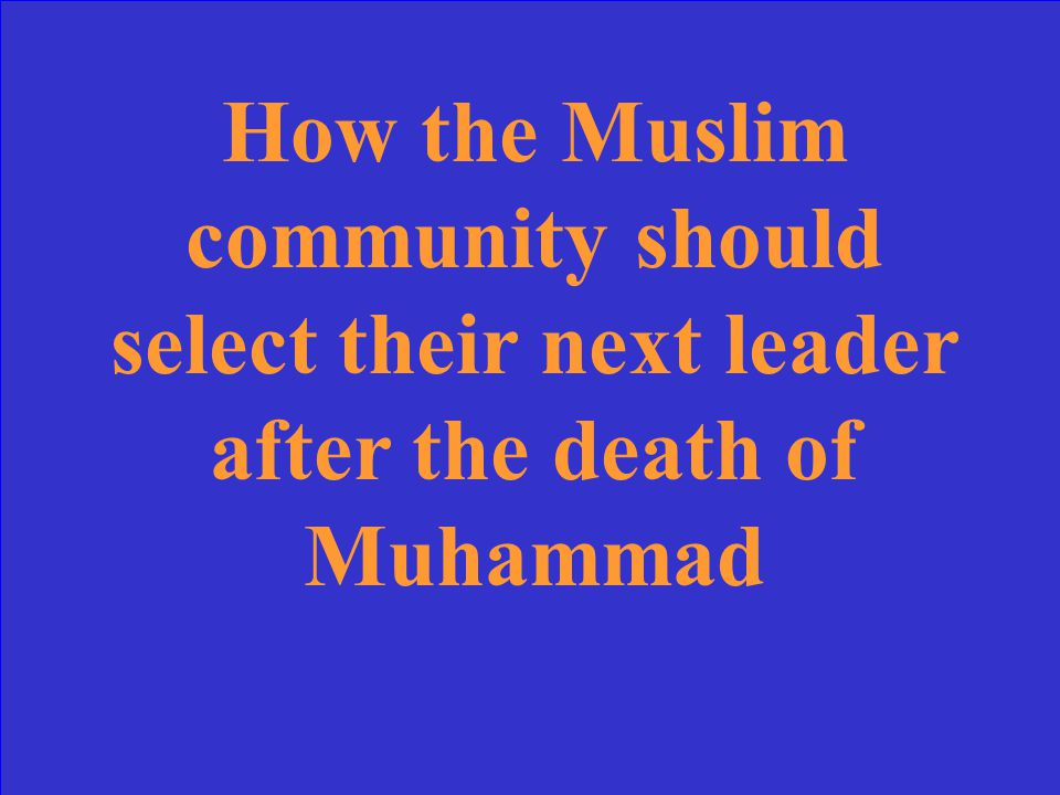 This issue led to the split between the Sunni and Shia Muslims.