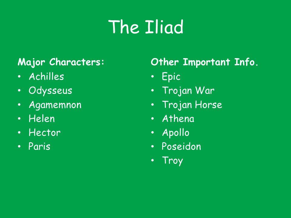 The Iliad Major Characters: Achilles Odysseus Agamemnon Helen Hector Paris Other Important Info. Epic Trojan War Trojan Horse Athena Apollo Poseidon T