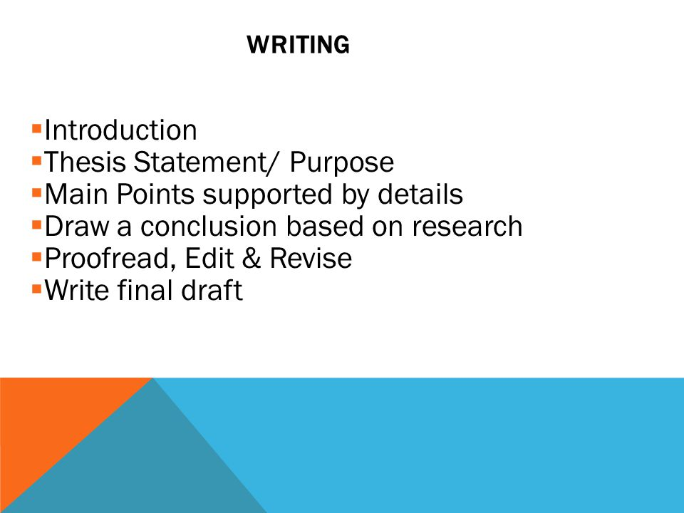  Introduction  Thesis Statement/ Purpose  Main Points supported by details  Draw a conclusion based on research  Proofread, Edit & Revise  Write final draft WRITING