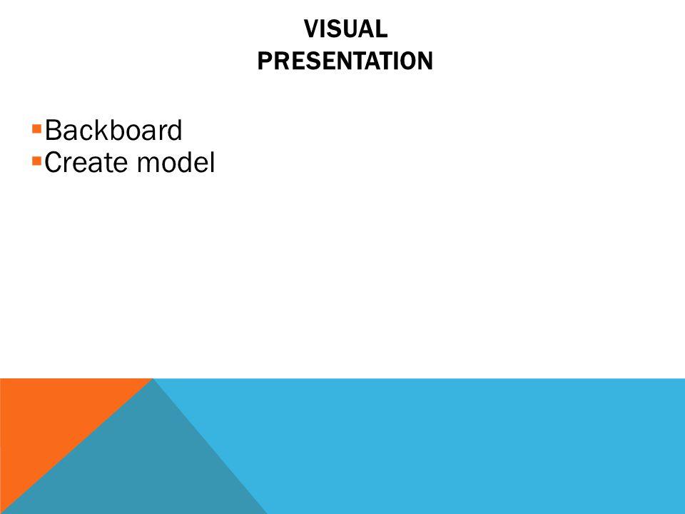  Backboard  Create model VISUAL PRESENTATION