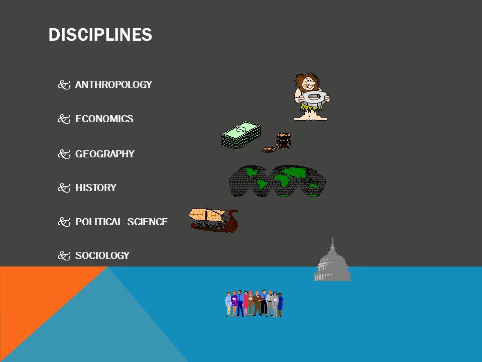 DISCIPLINES kANTHROPOLOGY kECONOMICS kGEOGRAPHY kHISTORY kPOLITICAL SCIENCE kSOCIOLOGY