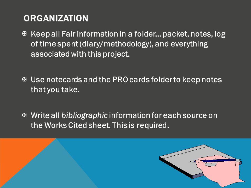 ORGANIZATION XKeep all Fair information in a folder...