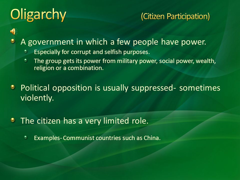 Forms of Autocratic Governments Absolute or Totalitarian Dictatorship Ideas of a single leader glorified. Government is not responsible to the people.