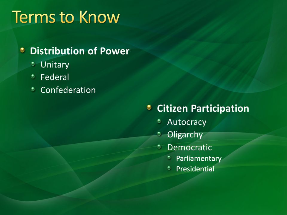 What types of governments exist in the world today?