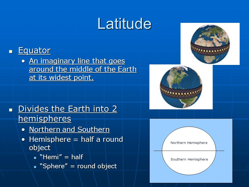 Latitude Equator Equator An imaginary line that goes around the middle of the Earth at its widest point.An imaginary line that goes around the middle of the Earth at its widest point.