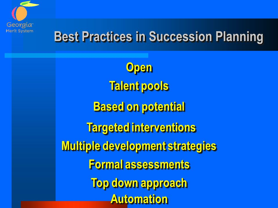Best Practices in Succession Planning OpenOpen Talent pools Based on potential Formal assessments Multiple development strategies Targeted interventio
