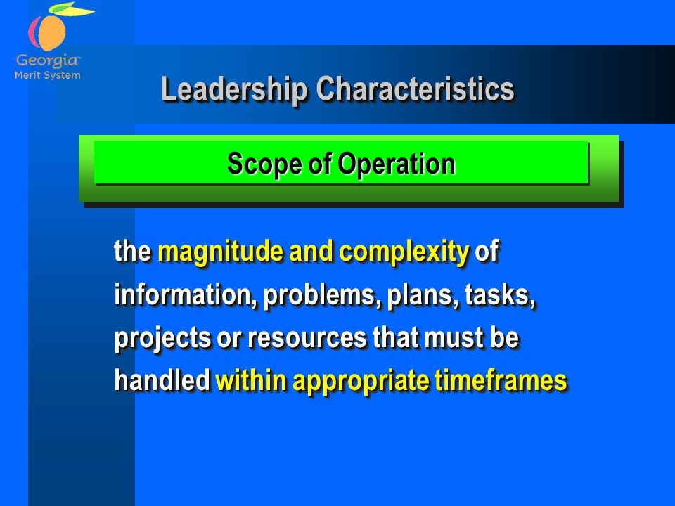 Leadership Characteristics the magnitude and complexity of information, problems, plans, tasks, projects or resources that must be handled within appr