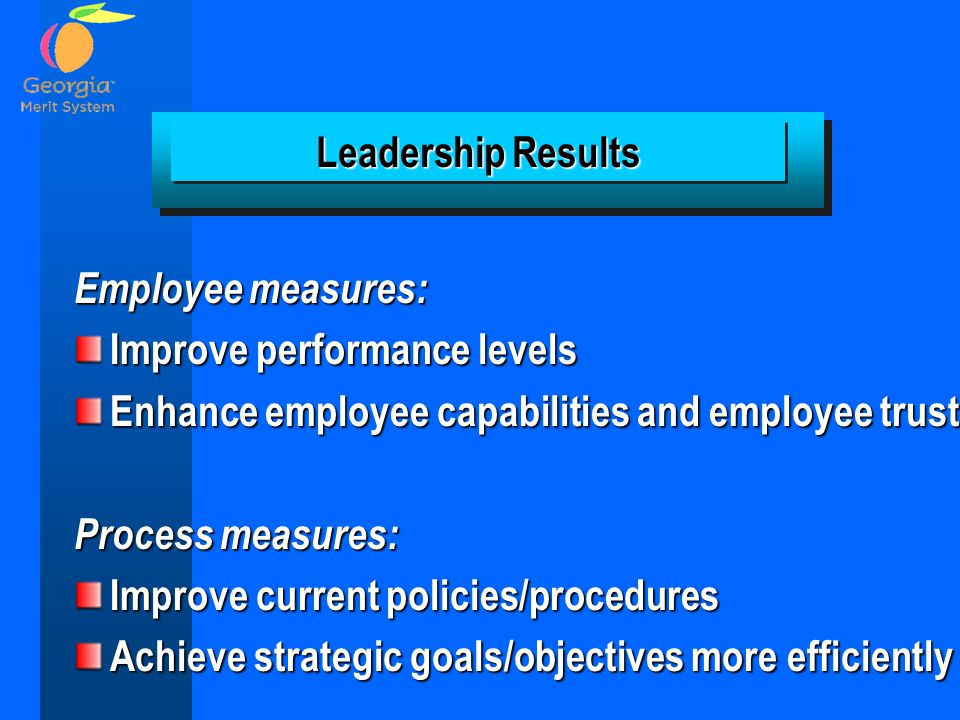 Employee measures: Improve performance levels Enhance employee capabilities and employee trust Process measures: Improve current policies/procedures Achieve strategic goals/objectives more efficiently Leadership Results