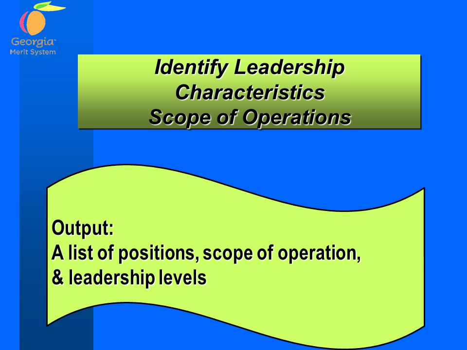 Identify Leadership Characteristics Scope of Operations Identify Leadership Characteristics Scope of Operations Output: A list of positions, scope of operation, & leadership levels