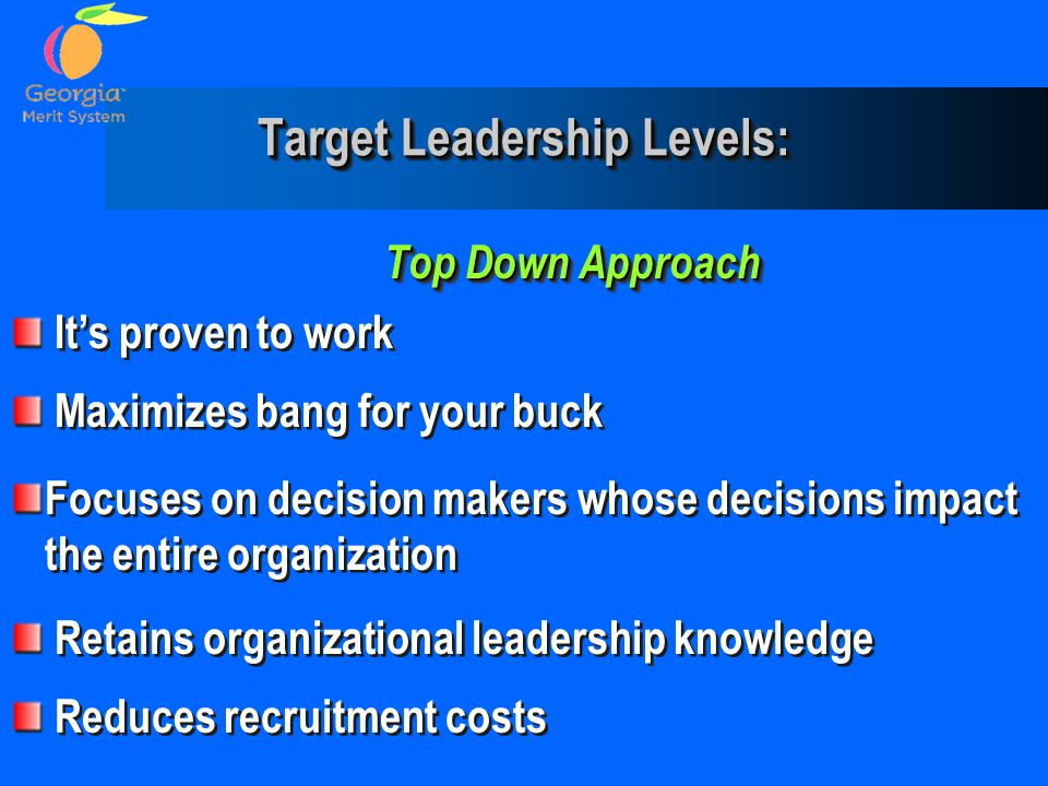 Target Leadership Levels: Top Down Approach It's proven to work Maximizes bang for your buck Focuses on decision makers whose decisions impact the ent