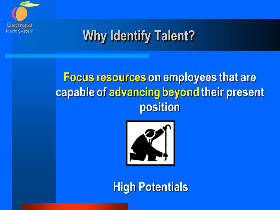 Why Identify Talent? Focus resources on employees that are capable of advancing beyond their present position High Potentials