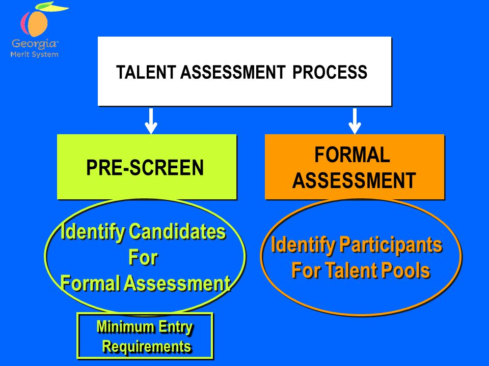 PRE-SCREEN FORMAL ASSESSMENT FORMAL ASSESSMENT TALENT ASSESSMENT PROCESS Identify Candidates For Formal Assessment Identify Candidates For Formal Assessment Identify Participants For Talent Pools Identify Participants For Talent Pools Minimum Entry Requirements Requirements Minimum Entry Requirements Requirements