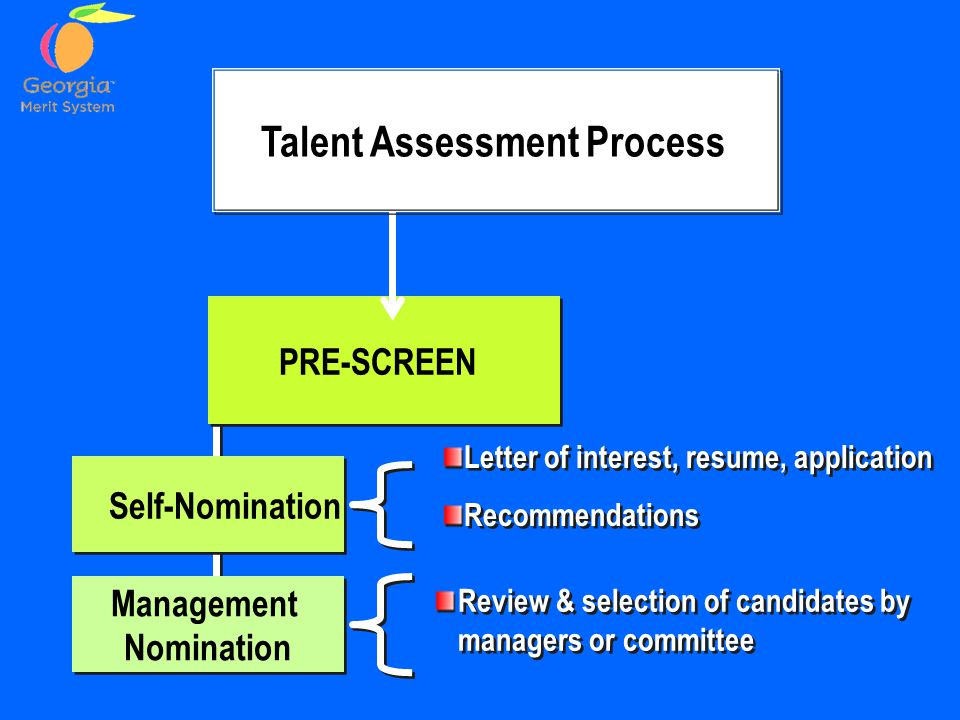 Self-Nomination Management Nomination Management Nomination Letter of interest, resume, application Recommendations Letter of interest, resume, application Recommendations Review & selection of candidates by managers or committee PRE-SCREEN Talent Assessment Process