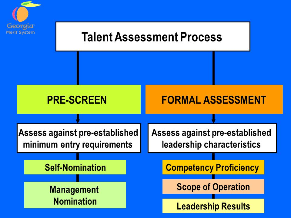 FORMAL ASSESSMENT Talent Assessment Process Competency Proficiency Leadership Results Scope of Operation PRE-SCREEN Self-Nomination Management Nomination Assess against pre-established leadership characteristics Assess against pre-established minimum entry requirements