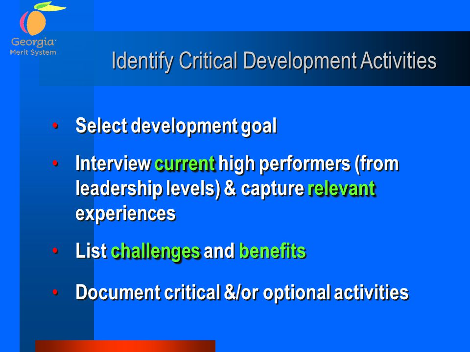 Select development goal current relevant Interview current high performers (from leadership levels) & capture relevant experiences challenges List challenges and benefits Document critical &/or optional activities Select development goal current relevant Interview current high performers (from leadership levels) & capture relevant experiences challenges List challenges and benefits Document critical &/or optional activities Identify Critical Development Activities