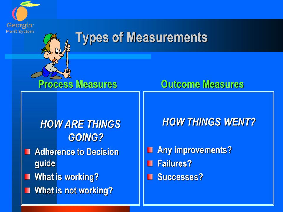 Types of Measurements HOW ARE THINGS GOING? Adherence to Decision guide What is working? What is not working? HOW THINGS WENT? Any improvements? Failu