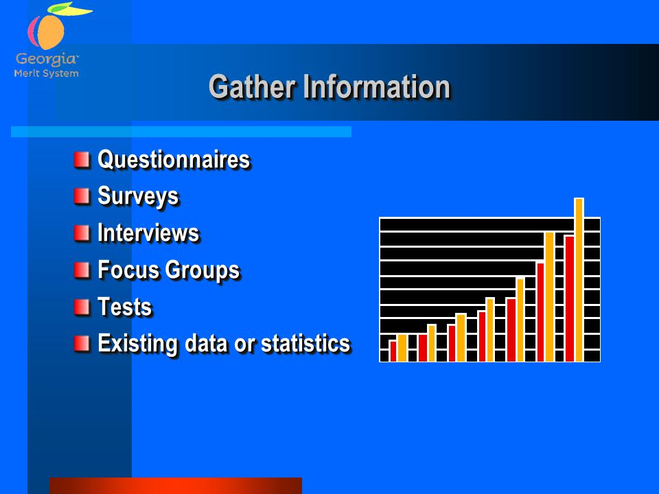 QuestionnairesSurveysInterviews Focus Groups Tests Existing data or statistics QuestionnairesSurveysInterviews Focus Groups Tests Existing data or sta
