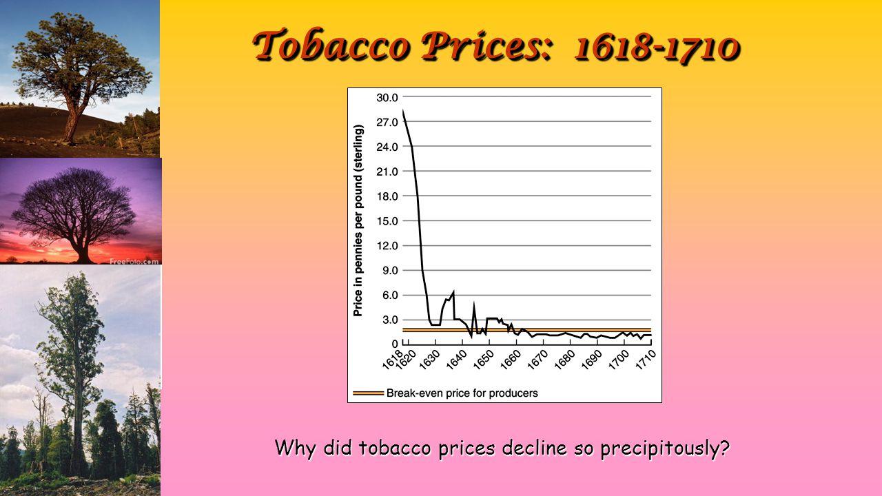 Tobacco Prices: 1618-1710 Why did tobacco prices decline so precipitously
