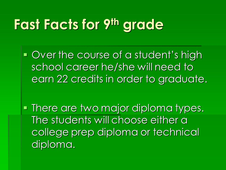 Fast Facts for 9 th grade  Over the course of a student's high school career he/she will need to earn 22 credits in order to graduate.