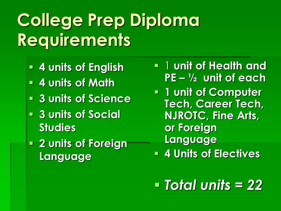 College Prep Diploma Requirements  4 units of English  4 units of Math  3 units of Science  3 units of Social Studies  2 units of Foreign Language  1 unit of Health and PE – ½ unit of each  1 unit of Computer Tech, Career Tech, NJROTC, Fine Arts, or Foreign Language  4 Units of Electives  Total units = 22