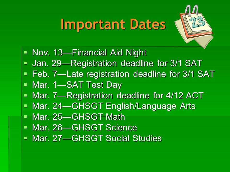 Important Dates  Nov. 13—Financial Aid Night  Jan.